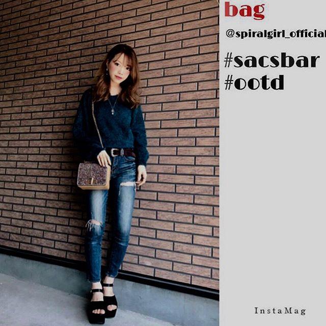 人気のSPIRAL GIRLのグリッターバッグ @juna.s2 さんがスタイリッシュにNew inn︎ 詳しくはプロフィールURLから!#sacsbar #spiral girl#instafashion#code#fashion#キラキラ #キラキラバッグ #ootd#今日のコーデ